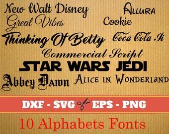 10 Alphabets SVG FONT BUNDLE ; Svg, Dxf, Eps, Png; set letters, Set Alphabet letters, Calligraphy printables,  Svg Font, font svg, Cricut