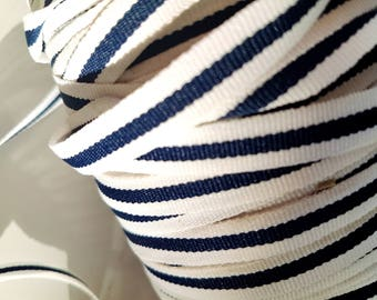 Ribbon old blue striped White Navy, 1 meter