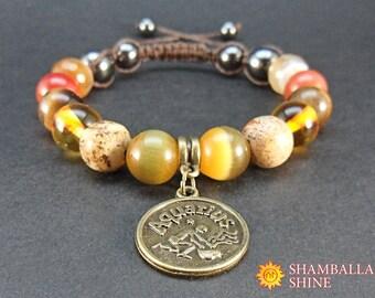 Healing meditation bracelet Aquarius jewelry Birthday gift for women Beaded gem bracelet February birthstone jewelry Brown orange gemstone