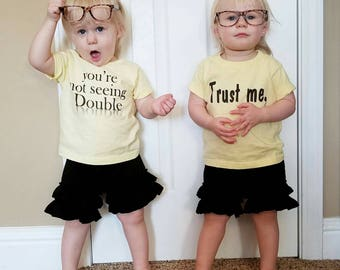 Trust me, You're not seeing Double (front) #Twinning (back) Cute and Fun twin Sets! Twin Baby Shower Gift! Choose Color Tee! See Pics