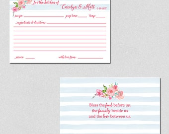 Personalized Recipe Cards, Bridal Shower Recipe Cards, Recipe Cards for the Bride and Groom, Shower Gifts, Floral Recipe Cards