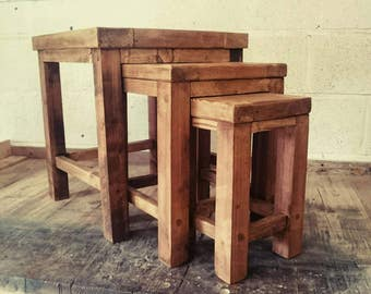 Handmade Reclaimed Wood Nest of 3 Tables