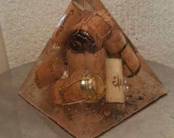 Champagne cork pyramid