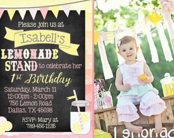 Lemonade Stand Birthday Invitation | Lemonade Party with Photo! Digital File. Print at Home.
