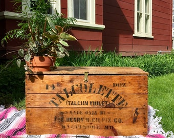 Antique Upcycled Industrial Style Wooden Rustic Shipping Crate