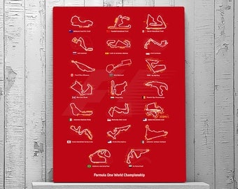 Grand Prix Circuits, F1 Circuits, Formula 1 Print, Formula One Circuits, 2017 GP, Choose COLOR, Red, Black, Grey, Navy Blue, Wall Art Print