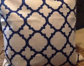 "Double-sided Blue Moroccan cushion cover 18"" linen"
