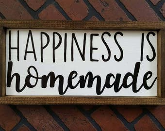 Happiness is homemade framed wood sign