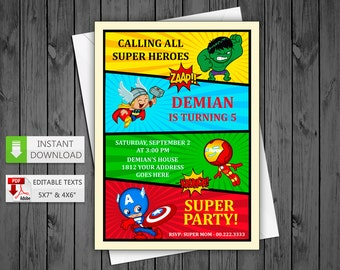 Printable invitation Super heroes in PDF with Editable Texts, Cute Avengers Invitation, edit and print yourself! Instant Download!