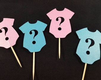 Gender Reveal Onsie Cupcake Toppers