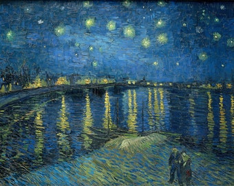 "Vincent Van Gogh ""Starry Night over the Rhone"" Canvas Box Art A4, A3, A2, A1 ++"