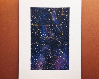 Galaxy Painting with Gold Constellations
