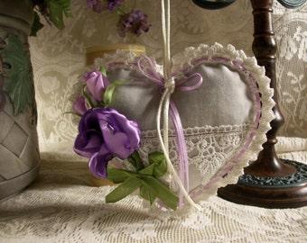 Lavender Heart Sachet, Victorian Heart Sachet, Dried French Lavender Sachet