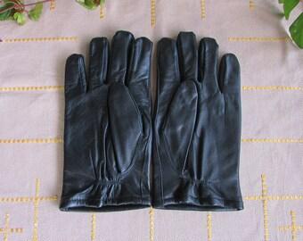 Vintage Black Leather Gloves, Man Real Leather Winter Gloves Size 10, Black Leather Driving Gloves, Black Genuine Leather Gloves for Man