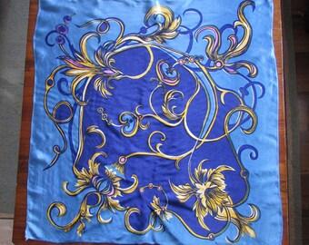 Vintage Colored Shawl '70, Blue Rustic Women Scarf, Traditional Folk Shawl, Blue Shawl, Satin Kerchief, Gift for Her
