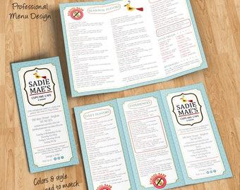 Custom restaurant, cafe or to-go menu design