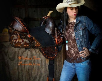 Without Fear Saddle- Proverbs 31:25 A Leather Art saddle.