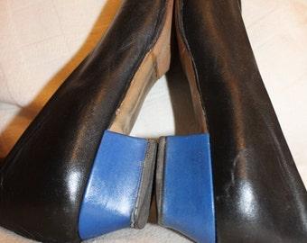 SALE leather pumps black/ royalblue !!! Tip & tacco, 39