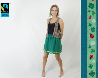 Fairtrade skirt green with ladybird and clover trim, fair vegan organic, luck, handmade, made in Germany, FairTale