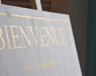 Panneau en bois doré ou argenté personnalisable pour mariage. Pancarte mariage dorée. Pancarte argentée mariage