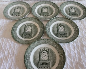"Set of 6 Royal China 6.5"" Bread or Dessert Plates - The Old Curiosity Shop, Green"