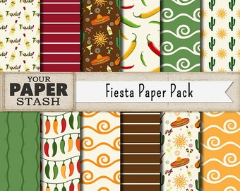 Cinco de Mayo Fiesta Digital Paper, Mexican Digital Paper, Mexico, Vacation, Scrapbook Paper, Cactus, Commercial Use