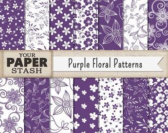 Floral Digital Paper, Floral Scrapbook Paper, Purple Floral, Purple Flower, Scrapbook Paper, Digital Paper, Commercial Use, Instant Download