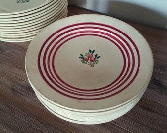 Set 9 french vintage flat plates Gien France beige with red border
