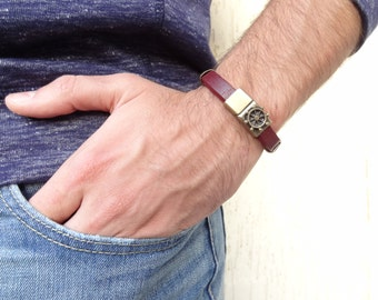 EXPRESS SHIPPING,Men's Burgundy Leather Bracelet, Men's Jewelry, Antiquing Magnetic Clasp Bracelet, Ship Rudder Clasp, Father's Day Gifts