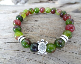 EXPRESS SHIPPING,Green Jade Bracelet,Tortoise Bracelet,Stone Jewelry,Stretch Bracelet,Yoga,Meditation,Beaded,Gift for Her,Mother's Day Gifts