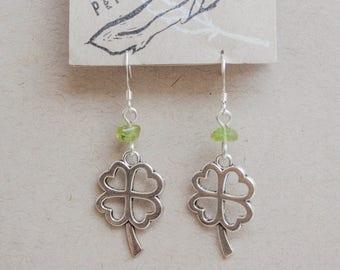 Earrings clover and peridot
