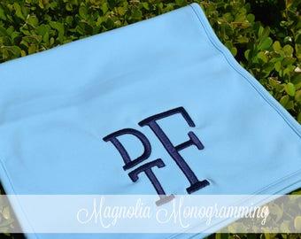 Monogrammed Blue Burp Cloth
