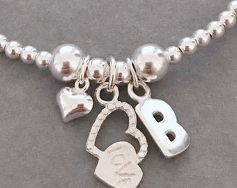 Sterling Silver Love Heart and Initial Charm Bracelet