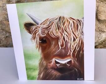 Highland Cow card - blank card - cute cow art card - animal art greeting card