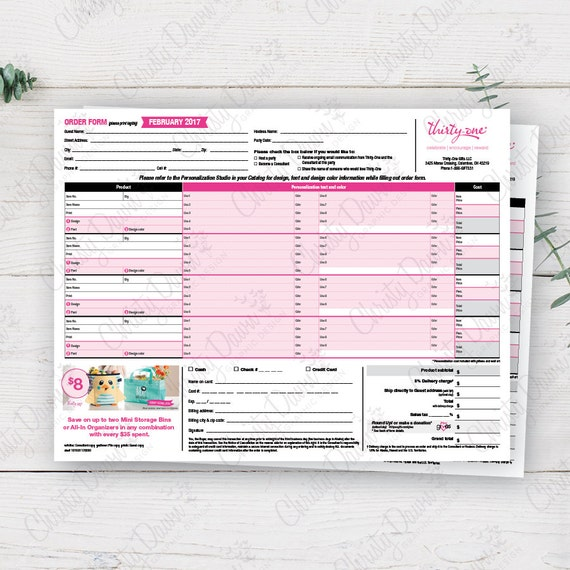 Items similar to 2017 Thirty One Order Form - February Monthly ...