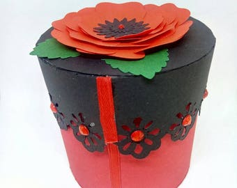 Colored cardboard box, box wedding favors. Box for gifts. Poppy box. Flower box. Box jewelry box with lace.