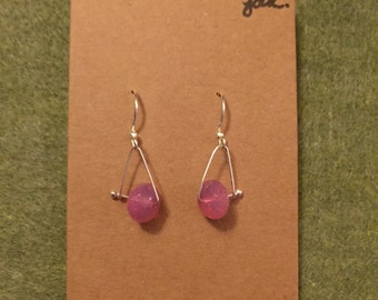 Pink faceted glass bead & bent wire earrings