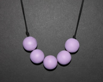 Wooden necklace // Wooden jewelry // Purple // Oversized beads // Painted beads // Teacher's Gift