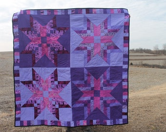 Star quilt/purple quilt blanket/lap quilt/purple throw/dark and light purple quilt/striped quilt/piano keyboard border/free shipping