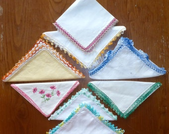 Lot of 8 Vintage Handkerchiefs with hand crocheted/tatted edging