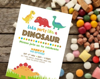 Personalised Kids Party Invitations / Boys Birthday Party Invites / Dinosaur