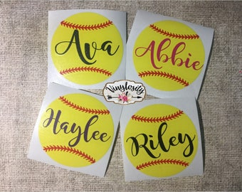 Softball Decal | Softball Monogram | Helmet Decal | Softball Helmet Decal | Car Decal | Yeti Decal | Laptop Decal |
