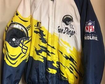 Vintage San Diego Chargers Logo Athletic Pro Line Mens Large Splash Jacket