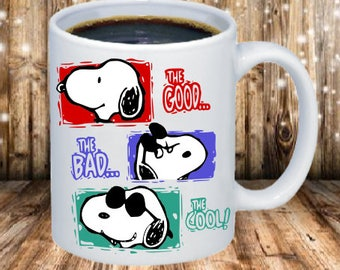Snoopy- Good Bad Cool Coffee Mug