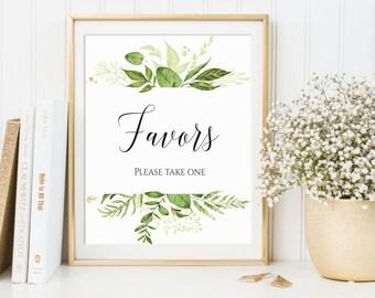 Favors Sign, Wedding Favors Sign, Bridal Shower Sign, Favors Printable, Favors Print, Wedding Favors Decor, Favor Sign, Greenery Favors Sign