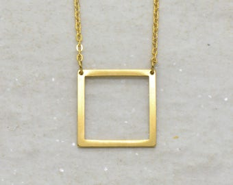 Square Necklace, Brushed 24k Gold Plated Stainless Steel, Dainty Minimal Geometric Layering Layered Long Necklaces