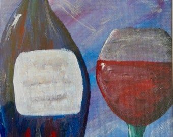 Just One Glass; acrylic painting, wine painting, canvas art