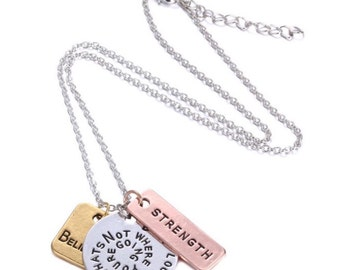 New Dont Look Back Its Not Where Youre Going Hand Stamped Mixed Metal Necklace