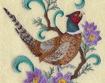 south dakota ring necked pheasant and pasque flower embroidered tea towel so dakota