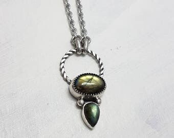LaoOne * sterling silver necklace * green Labradorite * The little beauty